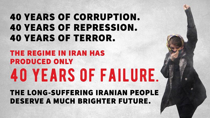 twitter - Donald J. Trump - The regime in Iran has produced only 40 Years of Failure - توییت جنجالی پرزیدنت ترامپ به زبان فارسی : ۴۰ سال فساد. ۴۰ سال سرکوب. ۴۰ سال ترور. رژیم ایران فقط موجب چهل سال شکست شده است. مردم ایران که مدتهاست در رنجند شایسته آینده روشن تری هستند