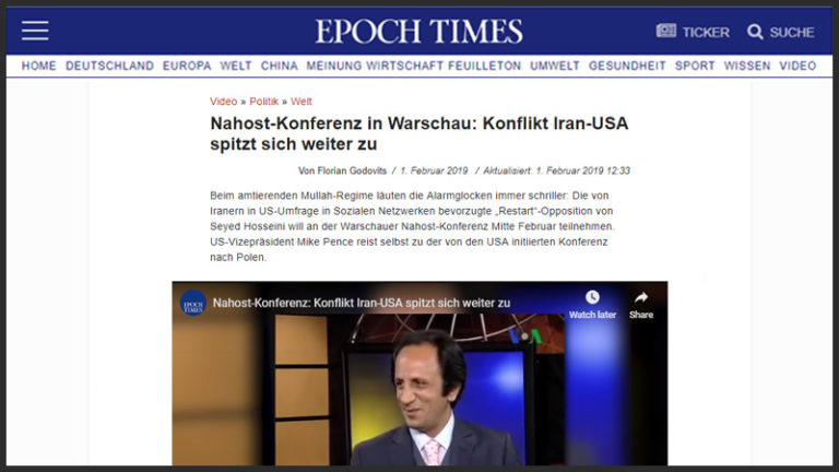 "Restart Movement - Germany Epoch Times - ""ایپک تایم"" آلمان : شکست بسیار سخت مجاهدین خلق و رضا پهلوی از اپوزیسیون میلیونی ری استارت"
