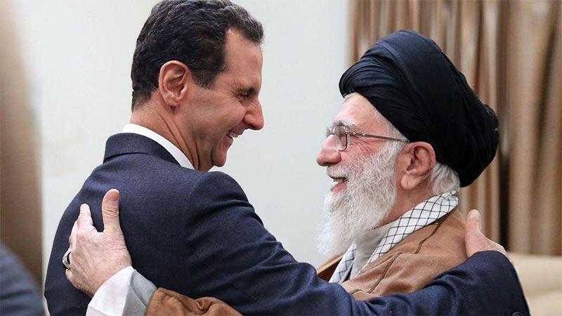 علی خامنه ای رهبر رژیم تروریستی ایران و بشار اسد رئیس جمهور تروریست سوریه