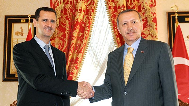 رجب طیب اردوغان رئیس جمهور جمهوری اسلامی ترکیه و بشار اسد رئیس جمهور تروریست سوریه