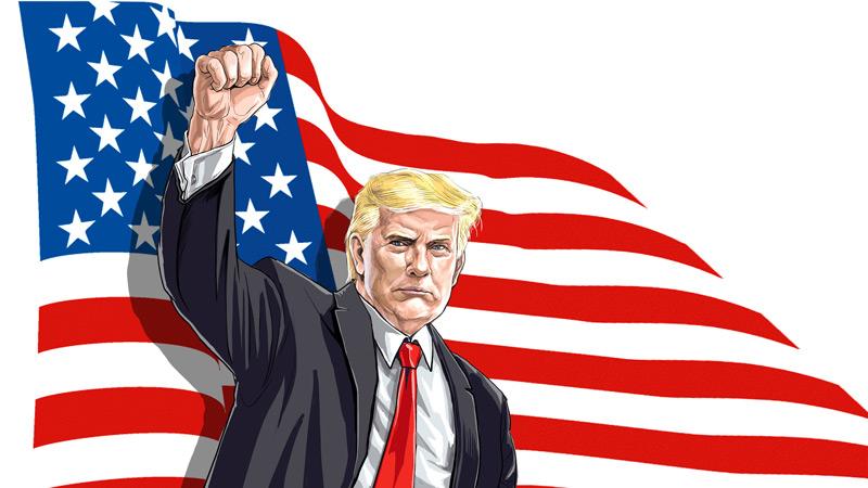 رئیس جمهور دونالد ترامپ و پرچم ایالات متحده آمریکا
