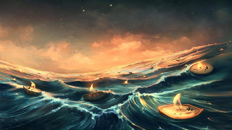 آدم یا انسان ها با قایق هایی با نور و آگاهی از جنس شمع در دریای مواج