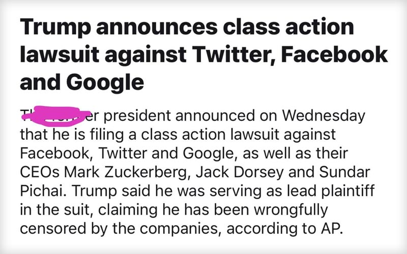 شکایت رسمی پرزیدنت دونالد ترامپ از توییتر و فیسبوک و گوگل