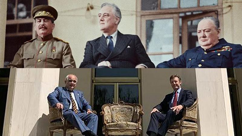 سفرای انگلیس و روسیه - سران متفقین ( آمریکا - شوروی - بریتانیا ) - سفارت شوروی - تهران - ایران