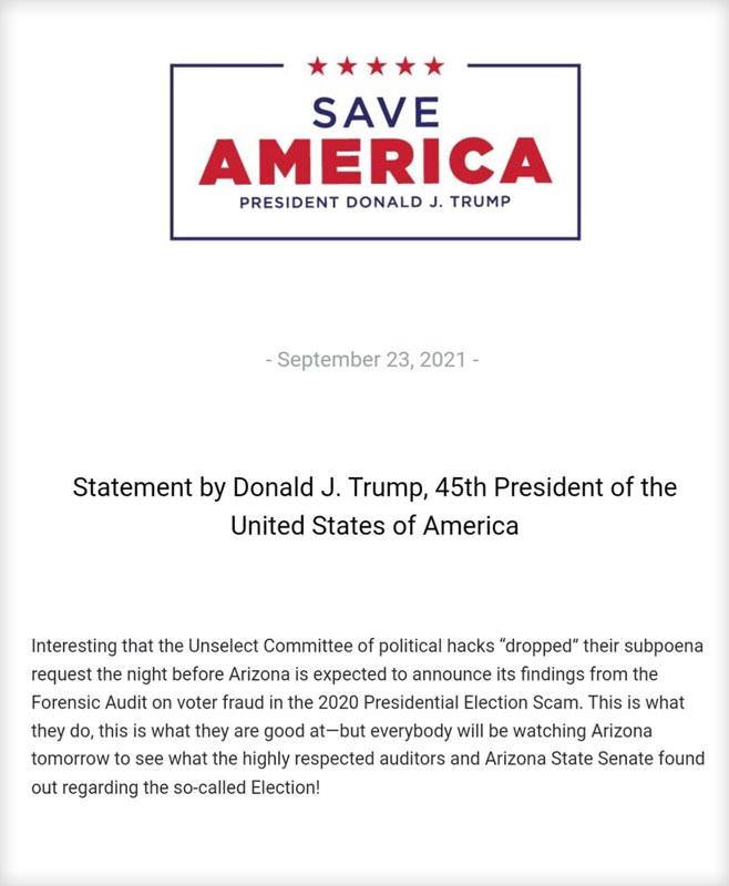 بیانیه دونالد جی ترامپ، چهل و پنجمین (و ششمین!) رئیس جمهور ایالات متحده آمریکا در ۲۳ سپتامبر در خصوص نتایج حسابرسی تقلب انتخاباتی در آریزونا