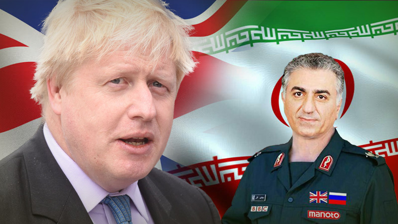 Boris Johnson British Prime Minister and Reza Pahlavi IRGC Iran's regime