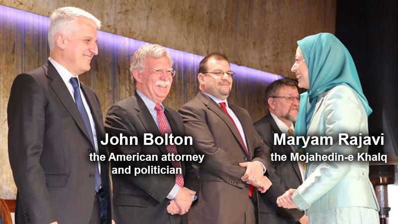 John Bolton, the American attorney and politician and Maryam Rajavi terrorist organization the Mujahedin-e Khalq ( MEK )