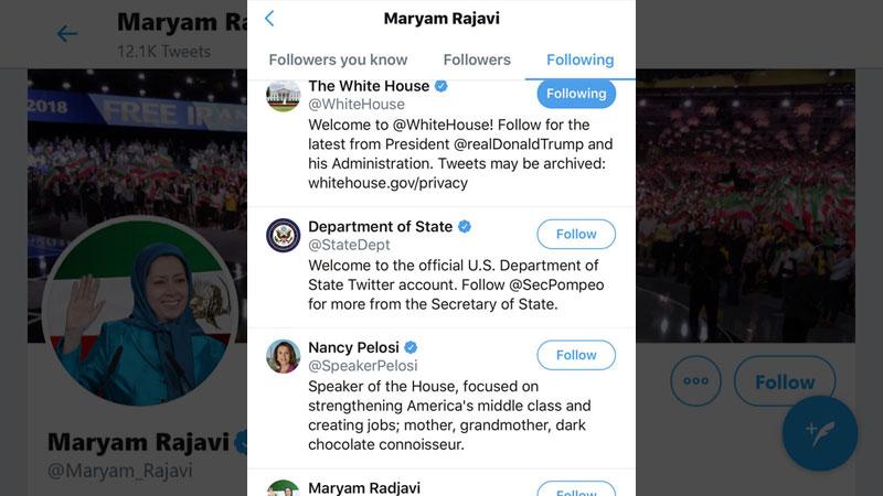 Maryam Rajavi terrorist organization Mujahedin-e Khalq ( MEK ) - Twitter following