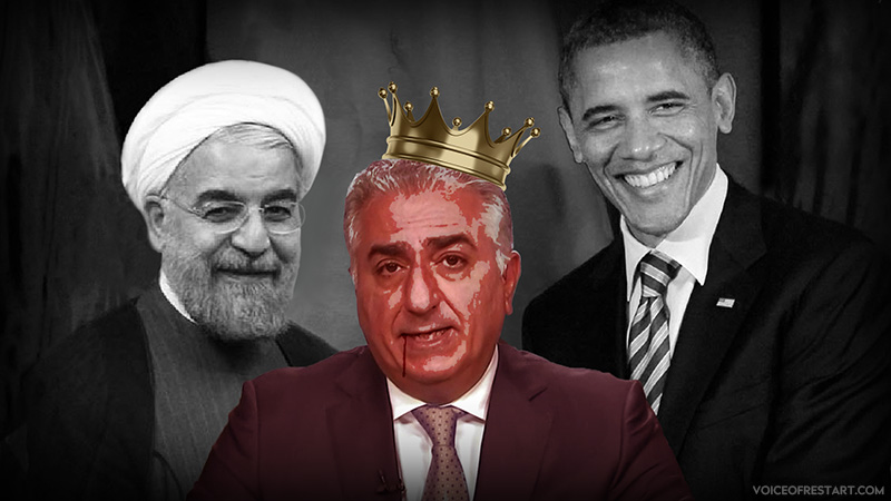 Barack Obama 44th U.S. President and Hassan Rouhani President of Islamic Republic of Iran and Reza Pahlavi, the son of the former Shah of Iran