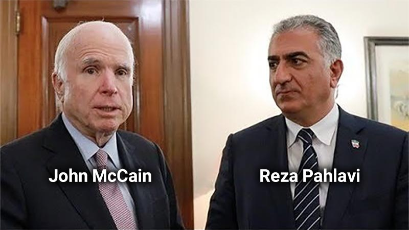 John McCain and Reza Pahlavi, the son of the former Shah of Iran