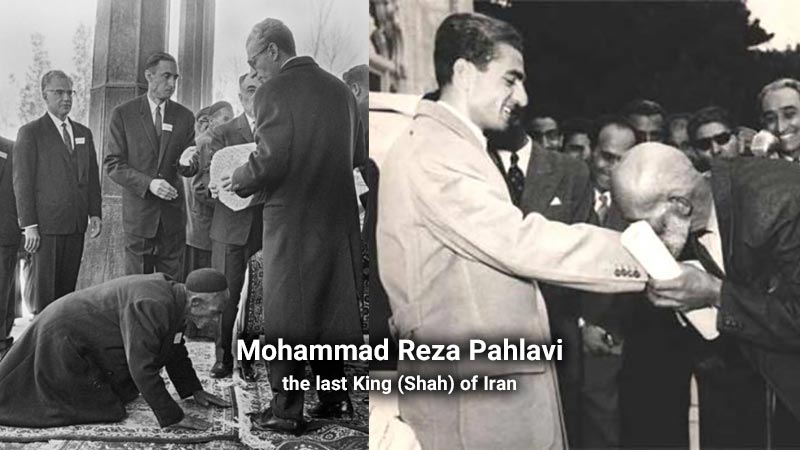 kissing hands of Mohammad Reza Shah Pahlavi