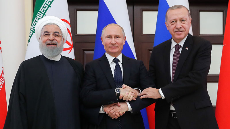 Recep Tayyip Erdoğan President of Turkey and Hassan Rouhani President of Iran terrorist regime and Vladimir Putin President of Russia