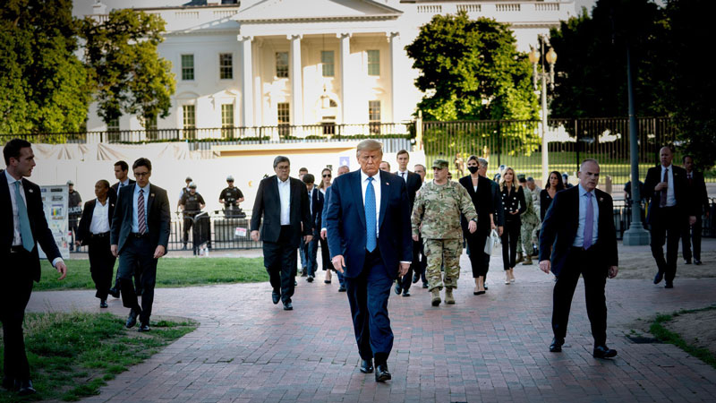 Trump's courage regarding his walk through the streets without prior announcement shocked the world!