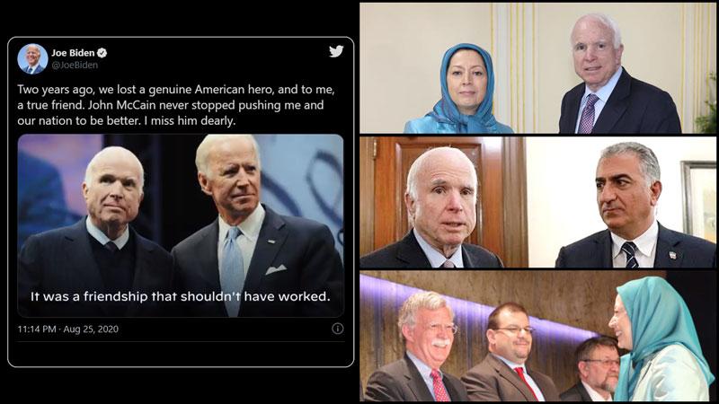 Joe Biden's tweet on friendship with John McCain - MEK - Reza Pahlavi - John Bolton