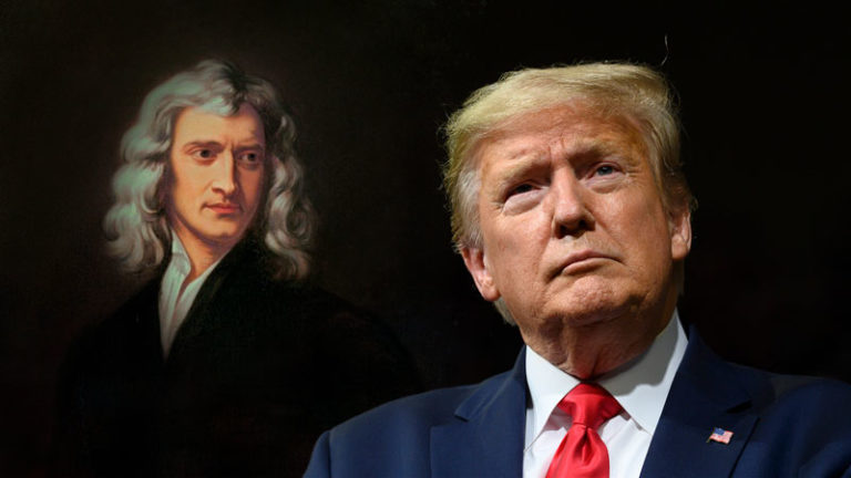 President of the United States of America Donald Trump & Isaac Newton